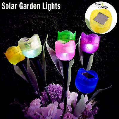 6 LED Solar Powered Tulip Flower Shape Garden Lighting Standing Garden Lights • 8.69£