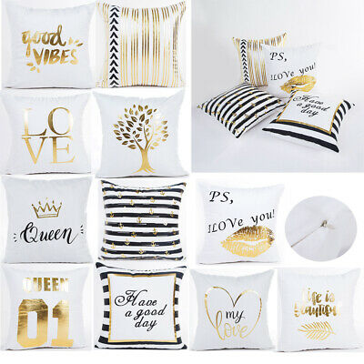 17.7  Letter Gold Foil Printing Pillow Case Throw Cushion Cover Sofa Home Decor • 6.88£