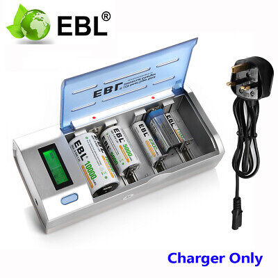 EBL LCD Intelligent Battery Charger Fr 1-4 AA/AAA/C/D 1-2 9V NiMH NiCD Batteries • 14.99£