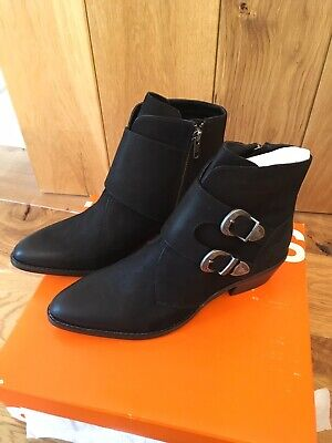 Womens Superdry Cowboy Rodeo Monk Boots Black Uk Size 5 • 65£