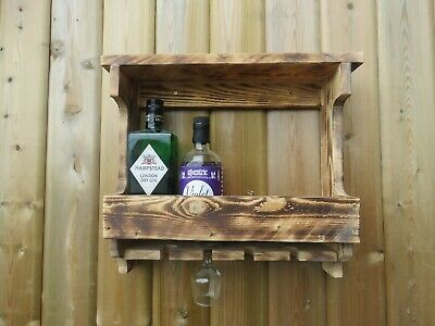 £23.99 • Buy Wall Mounted Wooden Gin Rack With Shelf. Holds Up To Four Bottles And Glasses.