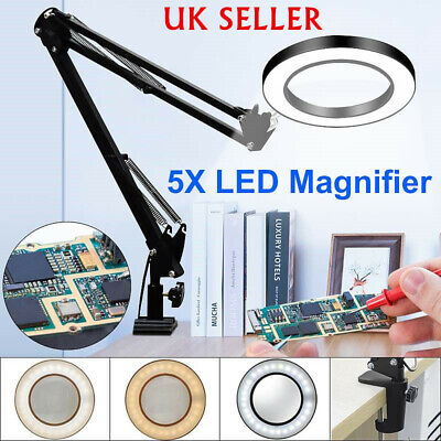 LED Large Lens Lighted Lamp Top Desk 5x Magnifier Magnifying Glass With Clamp UK • 21.95£