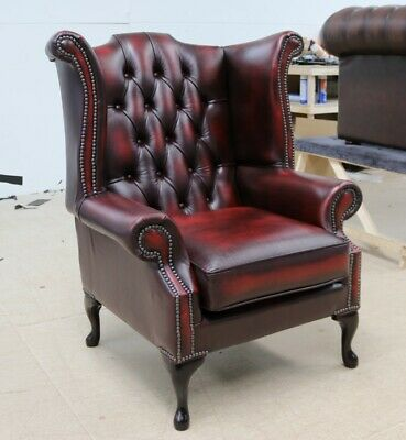 £400 • Buy Georgian Chesterfield Queen Anne High Back Wing Chair Vintage Red Leather