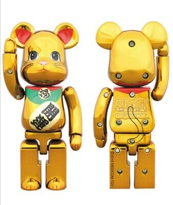 $250 • Buy Medicom 200% Bearbrick Bandai Chogokin Be@rbrick Maneki Neko Lucky Cat Gold