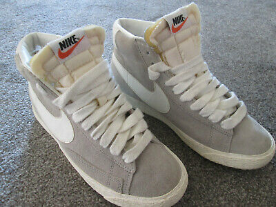 Ladies Nike UK Size 4 Suede Grey & White High Top Blazers Worn A Few Times Only • 30£