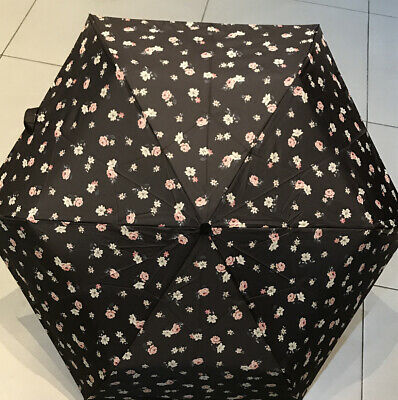 Cath  Kidston Minilite Umbrella Black Flowers With  Matching Cover (by Fulton) • 21.50£