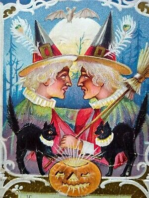 $ CDN83.32 • Buy Vintage Halloween Postcard Nash White Haired Witches Facing Each Other Series 7