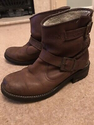 Womens Superdry Brown Diablo Boots Size 5 • 12£