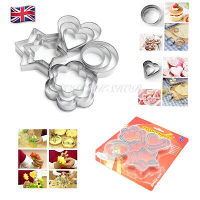 £4.20 • Buy Cookie Cutter Stamp Stainless Steel Star, Circle,Flower, Heart Shape X 3 Sizes