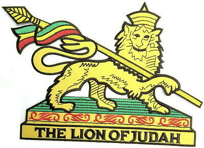 Lion Of Judah Rasta Reggae Iron On Embroidered Applique Big XL Back Patch  • 7.99£