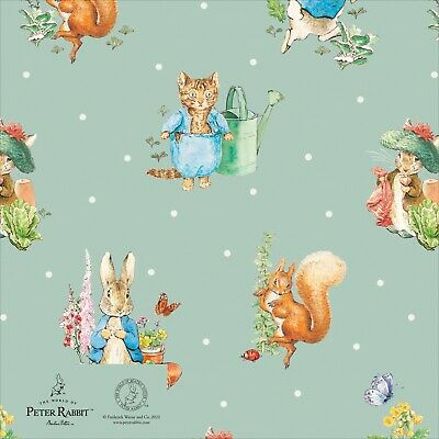 £2.85 • Buy Classic PETER RABBIT Gold Foiled Gift Wrap Wrapping Paper Beatrix Potter 1 Sheet