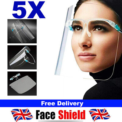 5 PACK Full Face Shield Visor Protection Mask Sheild Safety Clear PPE Face Mask • 4.39£