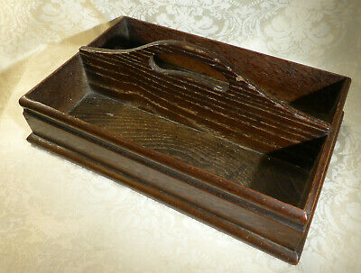 Antique Victorian Oak Cutlery Tray Box Carrier Handle Two Section Butlers Tray • 89.99£