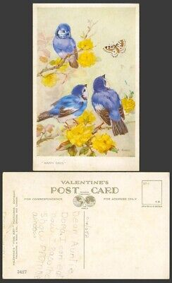Bluebirds Blue Birds Butterfly Flowers Happy Days, M. Bowley Signed Old Postcard • 7.99£