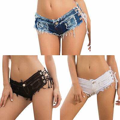 Sexy Womens Lace-up Mini Hot Pants Jeans Micro Shorts Denim Low Waist Clubwear • 10.14£