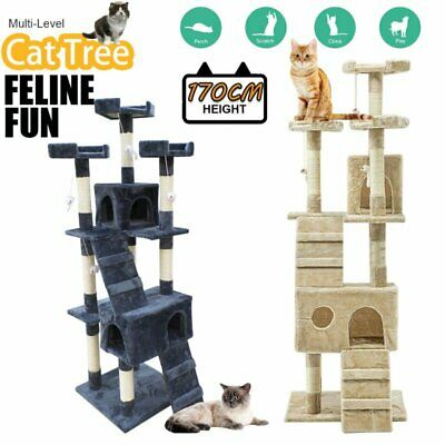 AU78.90 • Buy 1.7M Cat Tree Trees Scratching Post Scratcher Tower Condo House Furniture Wood