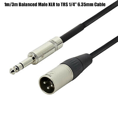 AU9.95 • Buy 1m / 3m Balanced Male XLR To TRS 1/4  6.35mm Microphone Stereo Jack Cable Lead