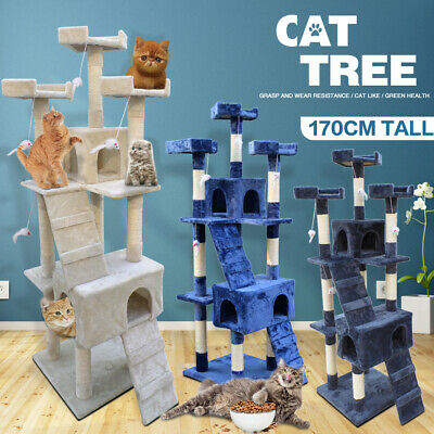 AU82.90 • Buy Cat Tree Trees Scratching Post Scratcher Tower Condo House Furniture Wood 1.7M