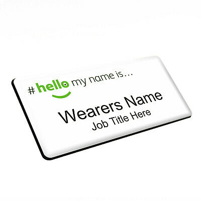 £4.99 • Buy Green Logo Hello My Name Is Premium Durable Personalised Name Badges Magnet