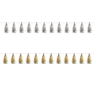 £6.01 • Buy 6m Foil Tassel Decorations Gold Silver Christmas New Years Eve NYE Party Banner