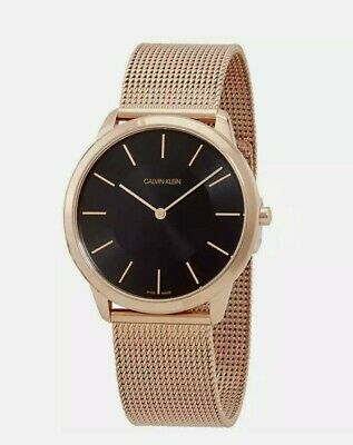 £84.80 • Buy Ladies CALVIN KLEIN Gold Tone & Black Mesh Bracelet Watch.