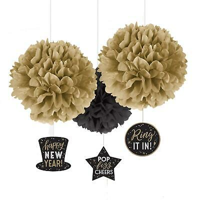 £7.68 • Buy 3 X Fluffy Paper New Years Eve NYE Party Hanging Decorations 2021 Gold Silver