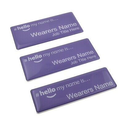 £4.99 • Buy Hello My Name Is Premium Durable Personalised Name Badges Magnet Purple White