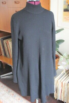 DKNY Pure Wool Slouchy Knitted Jumper Polo Roll Neck Large • 30£