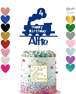 34. Train Cake Topper, Personalised Name & Age Cake Topper, Party, Birthday, Wed • 4.95£
