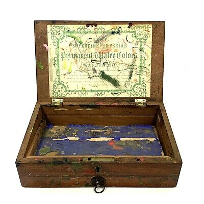 Antique Mahogany Artists Watercolour Paint Box Paper Label Reeves? Windsor? • 49.95£