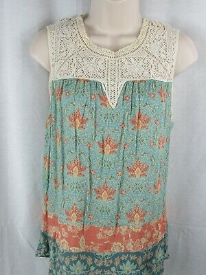 $ CDN31.54 • Buy Anthropologie Maeve Laced Eleanor Floral Tank Top Blouse Small Crochet Blue