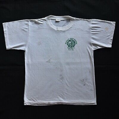 $ CDN13 • Buy 80s Vintage Run For Health 1982 Worn Stained 50/50 T Shirt Dirt Thin 18x22