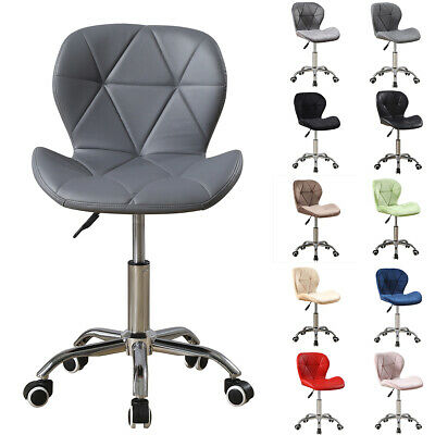 Cushioned Computer Desk Office Chair Chrome Legs Lift Swivel Small Adjustable UK • 55.90£