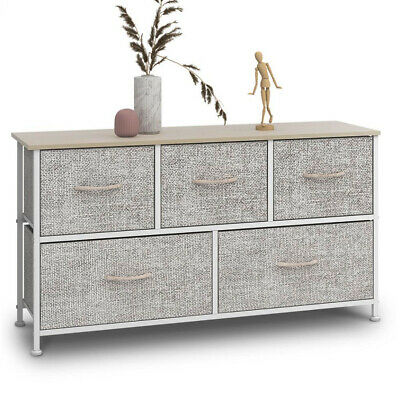 Fabric Cabinet Storage Unit Chest Of Drawers Metal Frame Organiser 5 Drawers UK • 45.89£