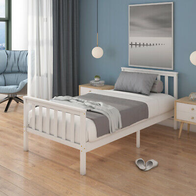 Single Bed Frame White 3ft Solid Wooden Frame Spring Full Foam Mattress Optional • 89.98£
