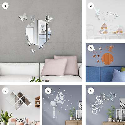 Mirror Tile Wall Sticker Self Adhesive Room Decor Stick On Art Home Decal DIY  • 8.99£