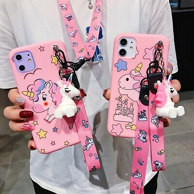 AU6.42 • Buy 3D Cute Cartoon Silicone Unicorn Doll +Lanyard Soft For Various Phone Case Cover