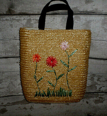 Mexx Fully Lined Two Handled Flower Design Straw Tote Style Bag • 8.99£