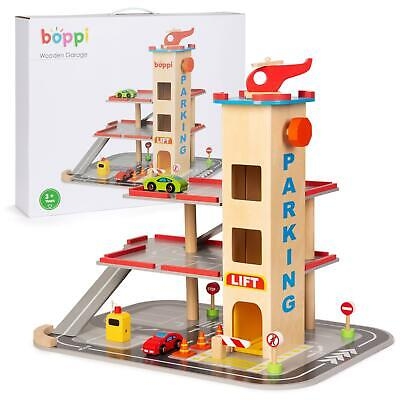 Boppi Wooden Toy Garage Carpark With 12 Pieces Inc 2 Cars & Helicopter And Lift • 38.99£