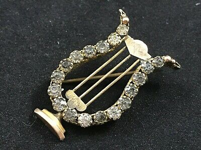 Victorian Antique 9ct Gold Brooch, Lyre Or Harp, Musical Instrument • 21£