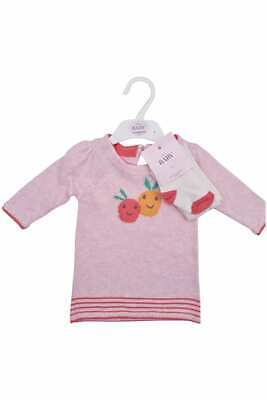 M&S Baby Girls Jumper Dress Tights Set Marks & Spencer Fruit Cute Outfit Gift • 9.99£