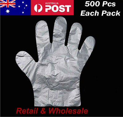 AU16.99 • Buy 500pcs Disposable Plastic Gloves Transparent Food Handling Hygienic Clear