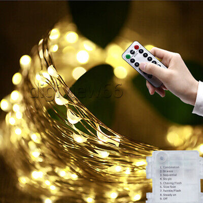LED Battery Fairy String Lights Party Outdoor Remote Control Wedding Christmas • 5.23£