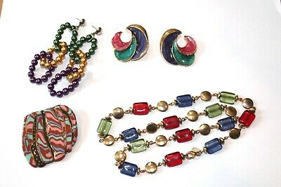$ CDN6.53 • Buy Fun Lot Of Vintage Jewelry COLORFUL Retro Style Earrings Brooch And Necklace!