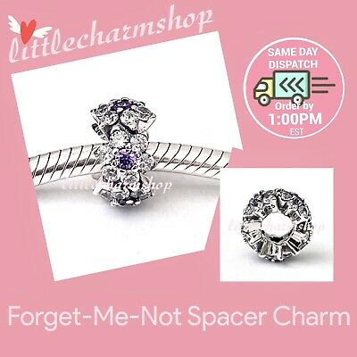 AU47.20 • Buy New Authentic Genuine PANDORA Forget-Me-Not Spacer Charm - 791834ACZ RETIRED