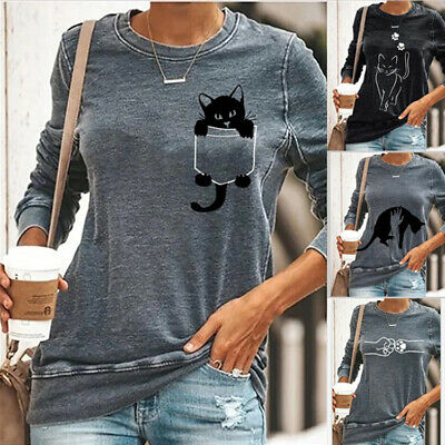 Womens Casual Long Sleeve Tops Loose Pullover Blouse Jumper Ladies Tee T-shirt • 10.30£