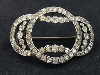 Antique Victorian Large Silver Paste Brooch • 12£