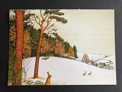 Rabbits In Snow Irmgard Lucht Unicef Postcard Germany • 0.49£