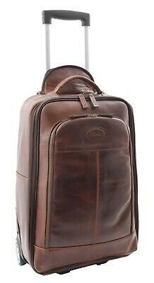 Wheeled Cabin Size Suitcase Real Brown Leather Luggage Travel Bag Trolley NEW • 239£