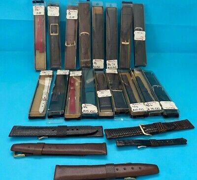 $ CDN65.32 • Buy Vintage New Old Stock Leather Watch Band Lot Of 22 Men Women